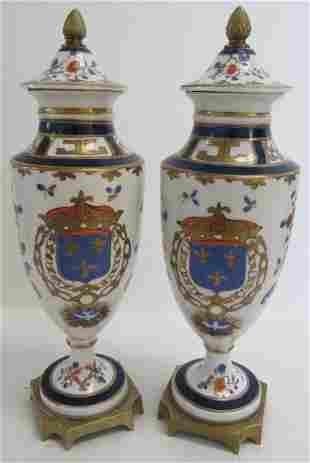 Pr. C1900 Sevres urns sold by B. Altman & Co