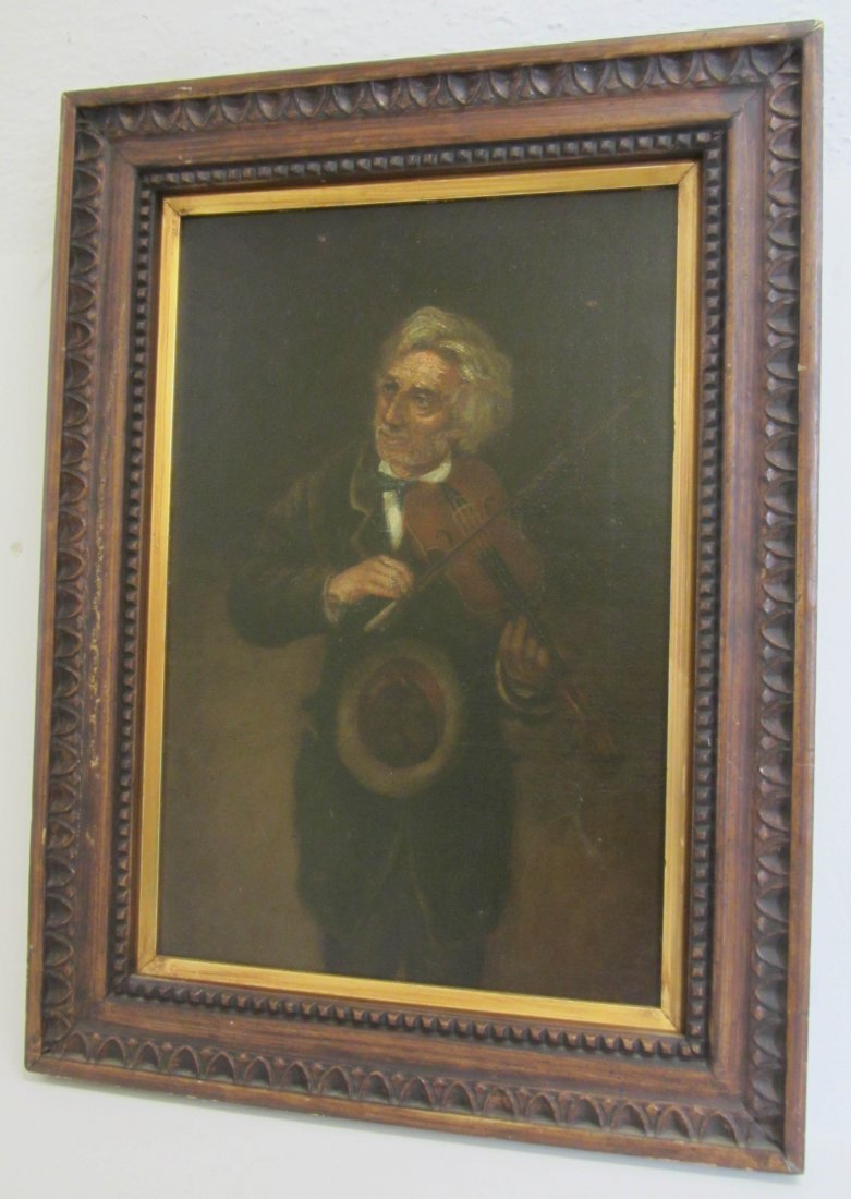 3: 20th C. Painting of fiddler signed by artist
