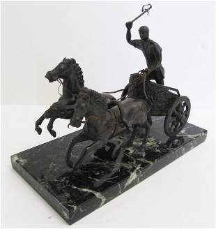 19th C. Horse and Chariot on marble base