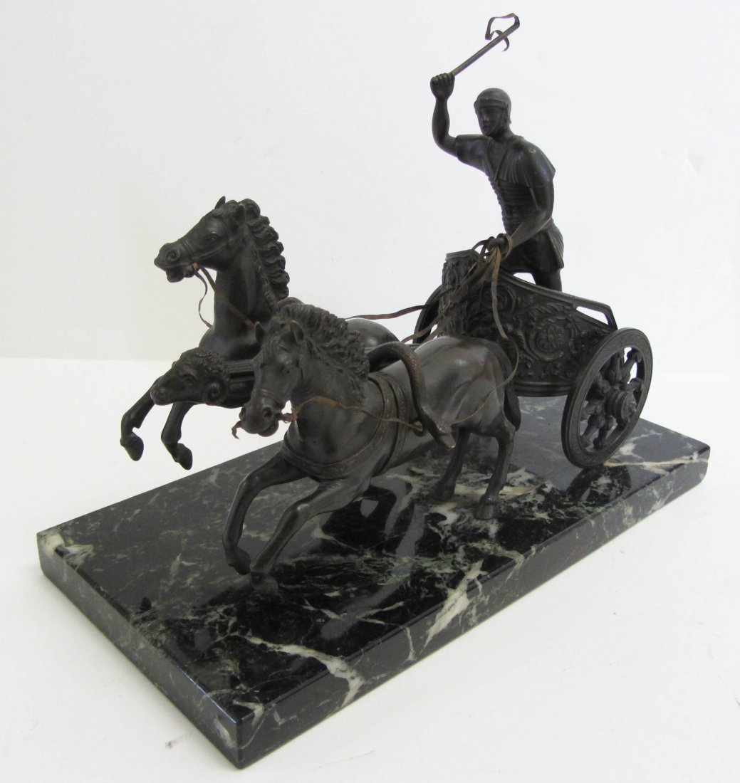 4: 19th C. Horse and Chariot on marble base