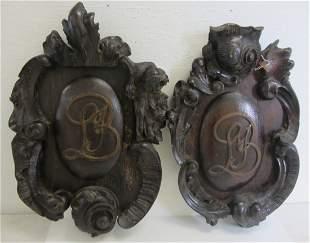 Pr. Ea. 19th C. NYC made oak crests