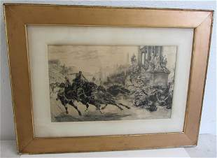 C1900 Etching of horse and chariot