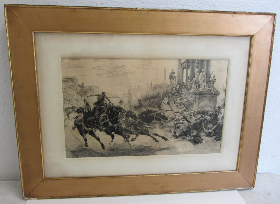7: C1900 Etching of horse and chariot