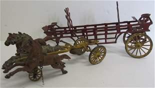 19th C. Cast iron horse drawn firetruck