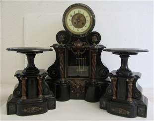 French marble 3 pc clock set w/ open escapement