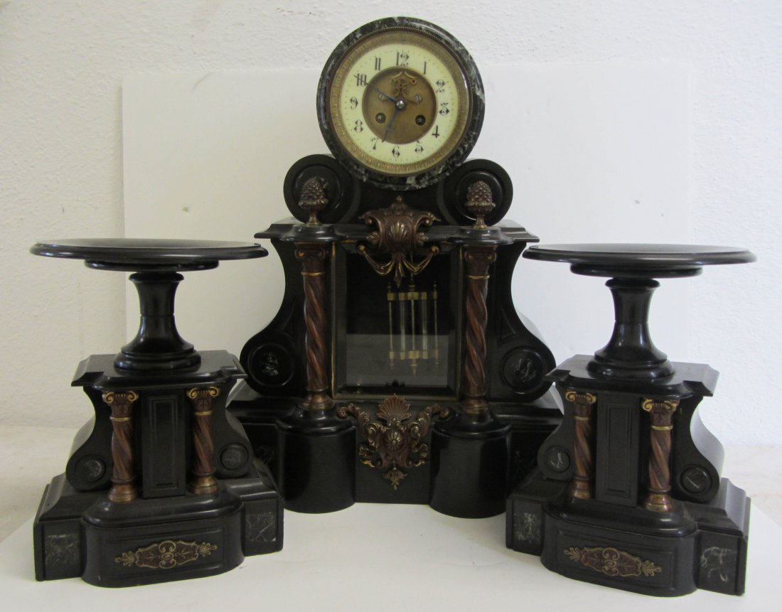 9: French marble 3 pc clock set w/ open escapement