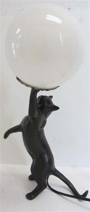 20th C. lamp with cat