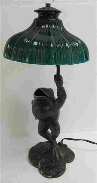 20th C. lamp with frog