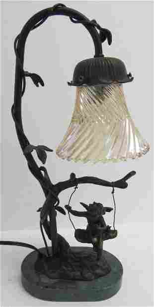 20th C. lamp of little girl with marble base