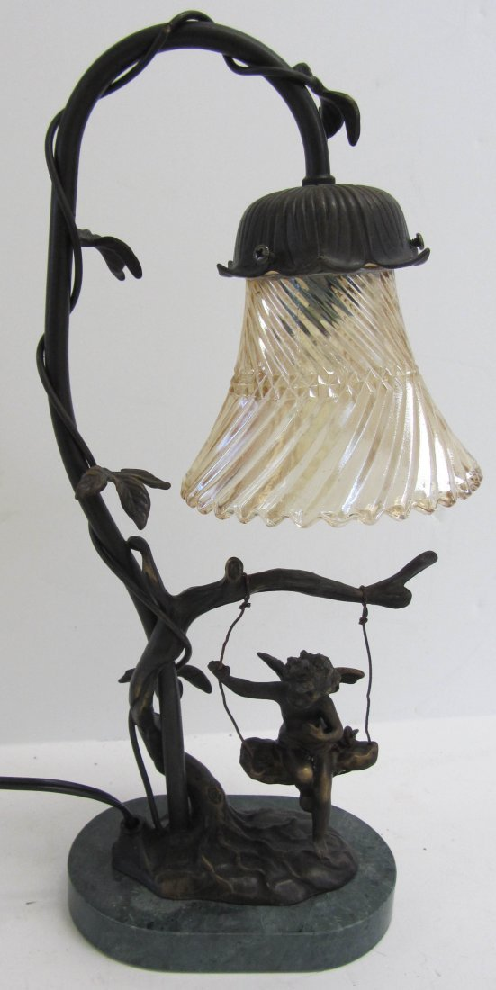 13: 20th C. lamp of little girl with marble base