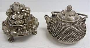 20th C. teapot and bowl with lid