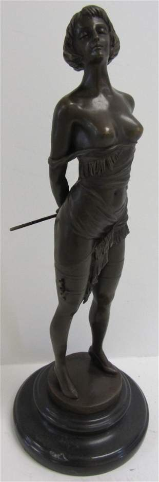 Bronze statue of woman on marble base signed