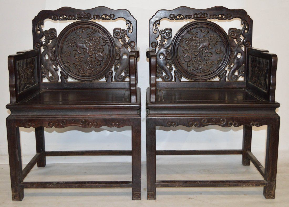 Pr. of Zitan carved wood chairs