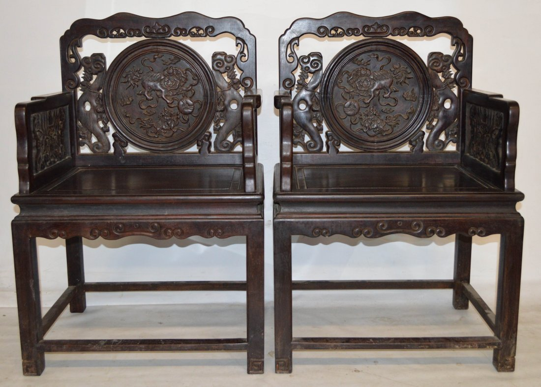 447: Pr. of Zitan carved wood chairs