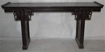 448: 19th C. Chinese Zitan wood altar table