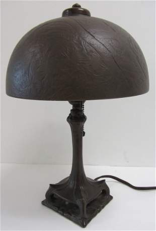 Period Handel style Arts and Crafts table lamp