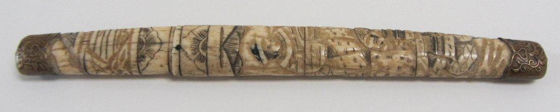 7: 19th C. carved bone whalers knife