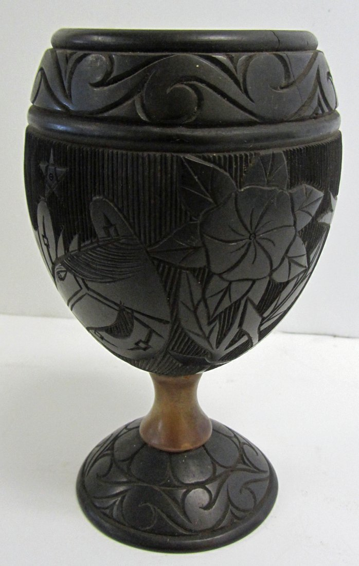 9: Rare 19th C. detail carved coconut shell cup