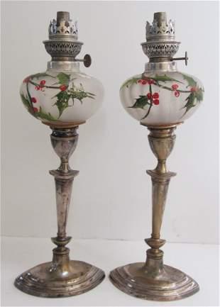Pr. of Silverplate keroscene lamps