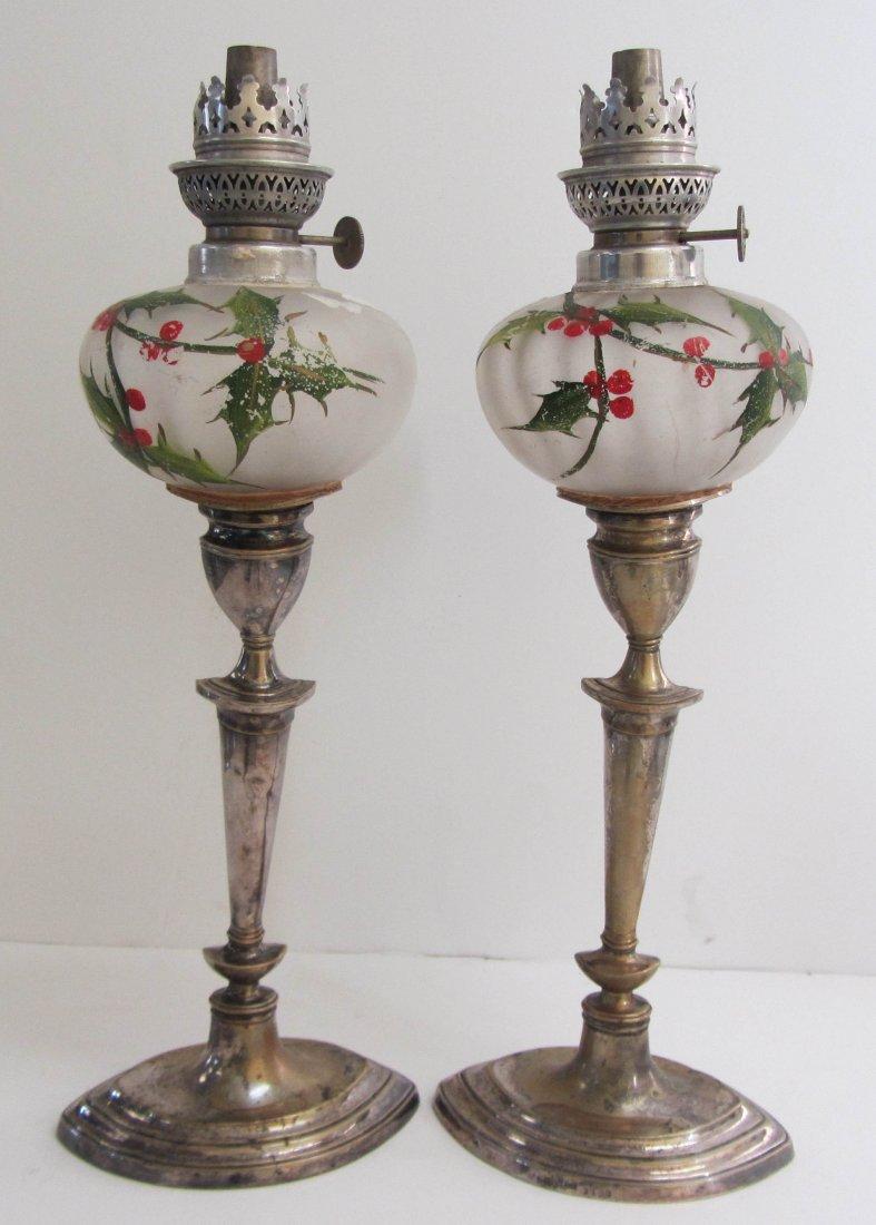 13: Pr. of Silverplate keroscene lamps