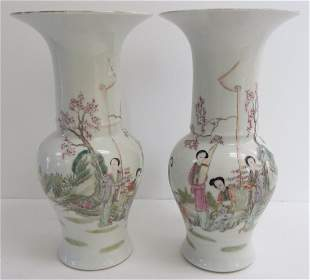 Pr. of Chinese urns with garden scenes