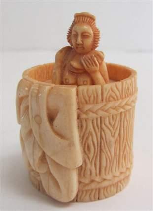 Carved bone box of barrel bather