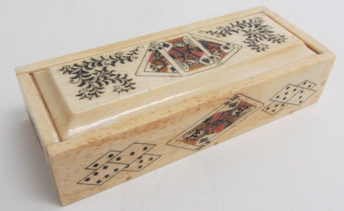 22: Small detail decorated bone domino box