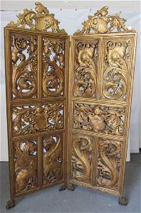 100: C1890 QSO 2 part double sided folding screen