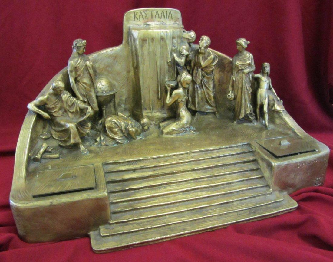 120: C. Philipp French dore bronze figural inkwell