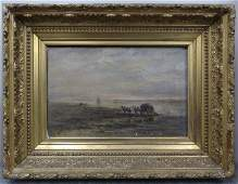80: 19th C. Oil on canvas of Seaweed Gatherers