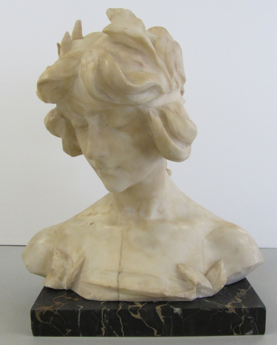 74: 19th C. White marble bust of woman