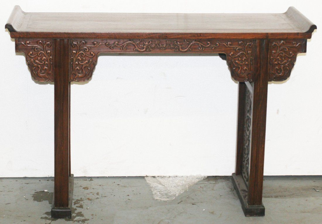19th C Chinese carved Huanghuali wood altar table
