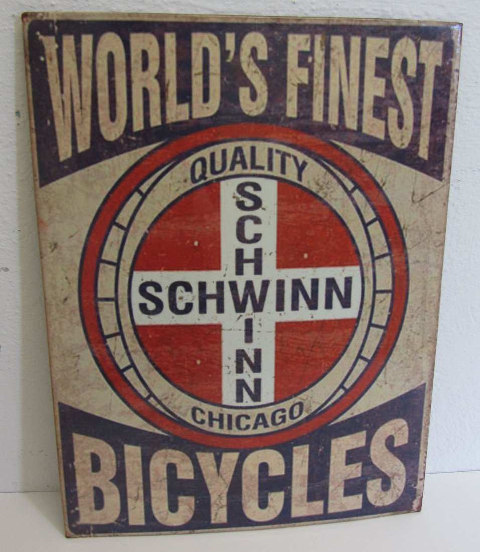 Large novelty Schwin bike sign