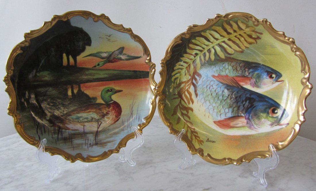 2 19th C. signed Limoges handpainted wall hangers