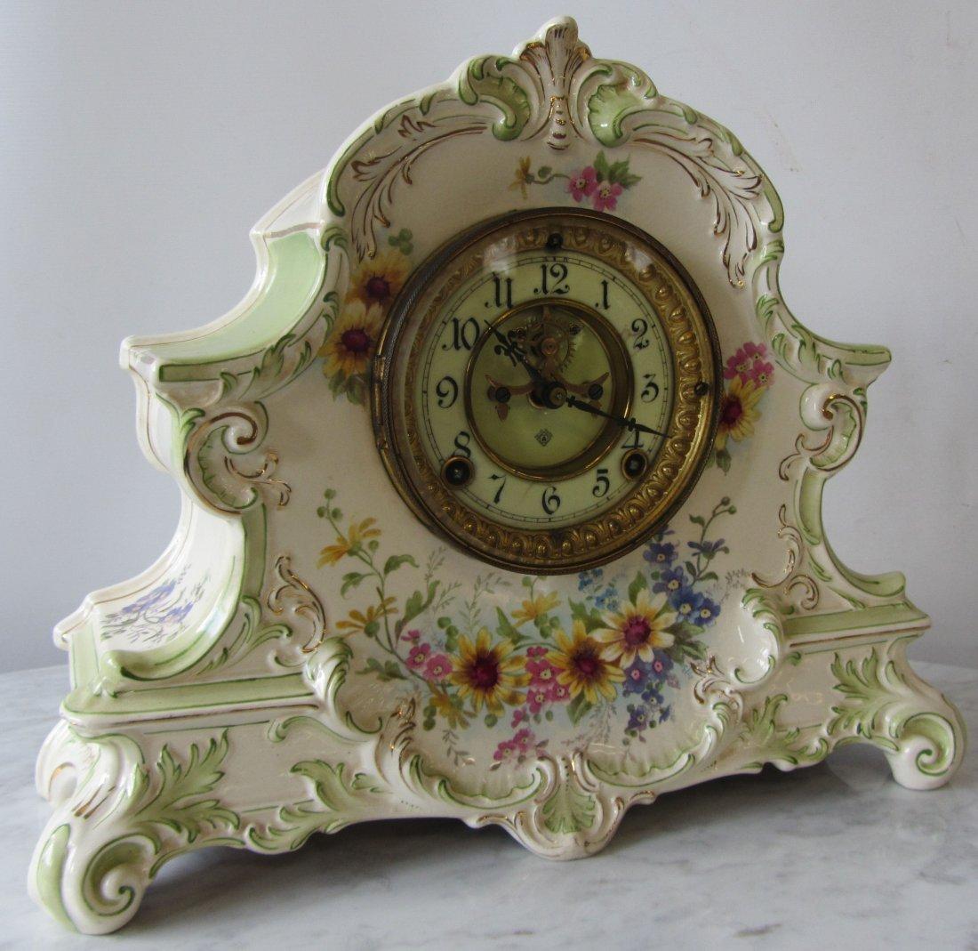 19th C. Ansonia mantle clock with Royal Bonn case