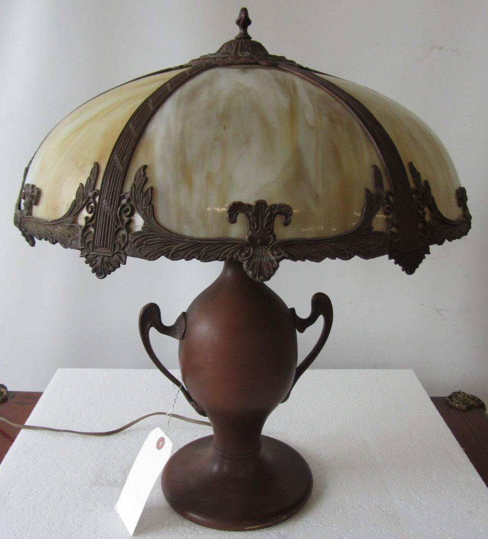 C1900 American Miller slag glass table lamp