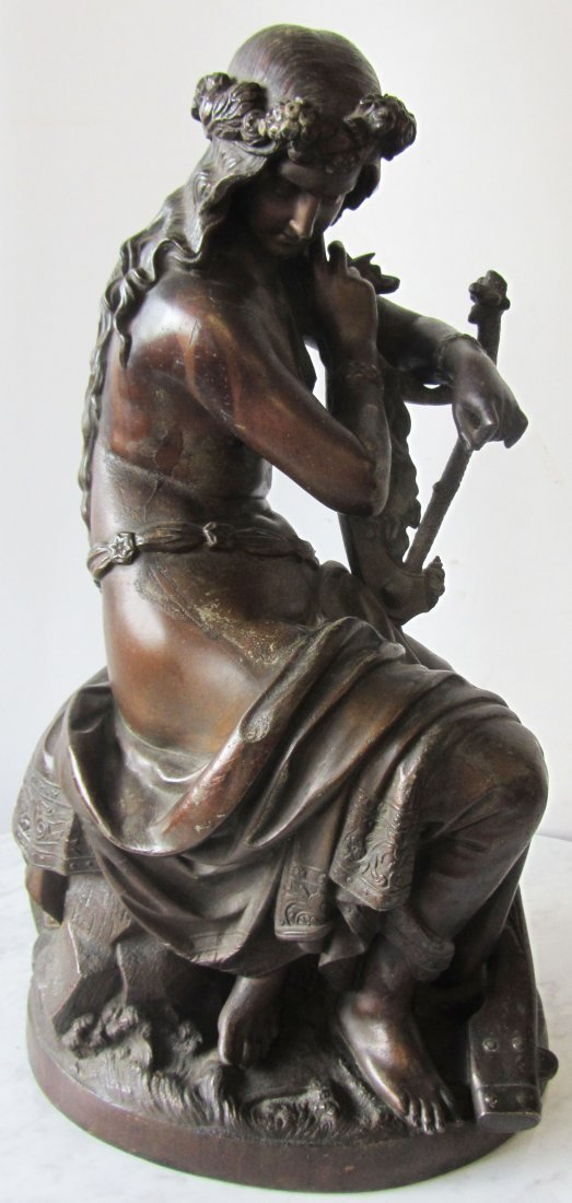 Large 19th C. spelter figure of woman signed