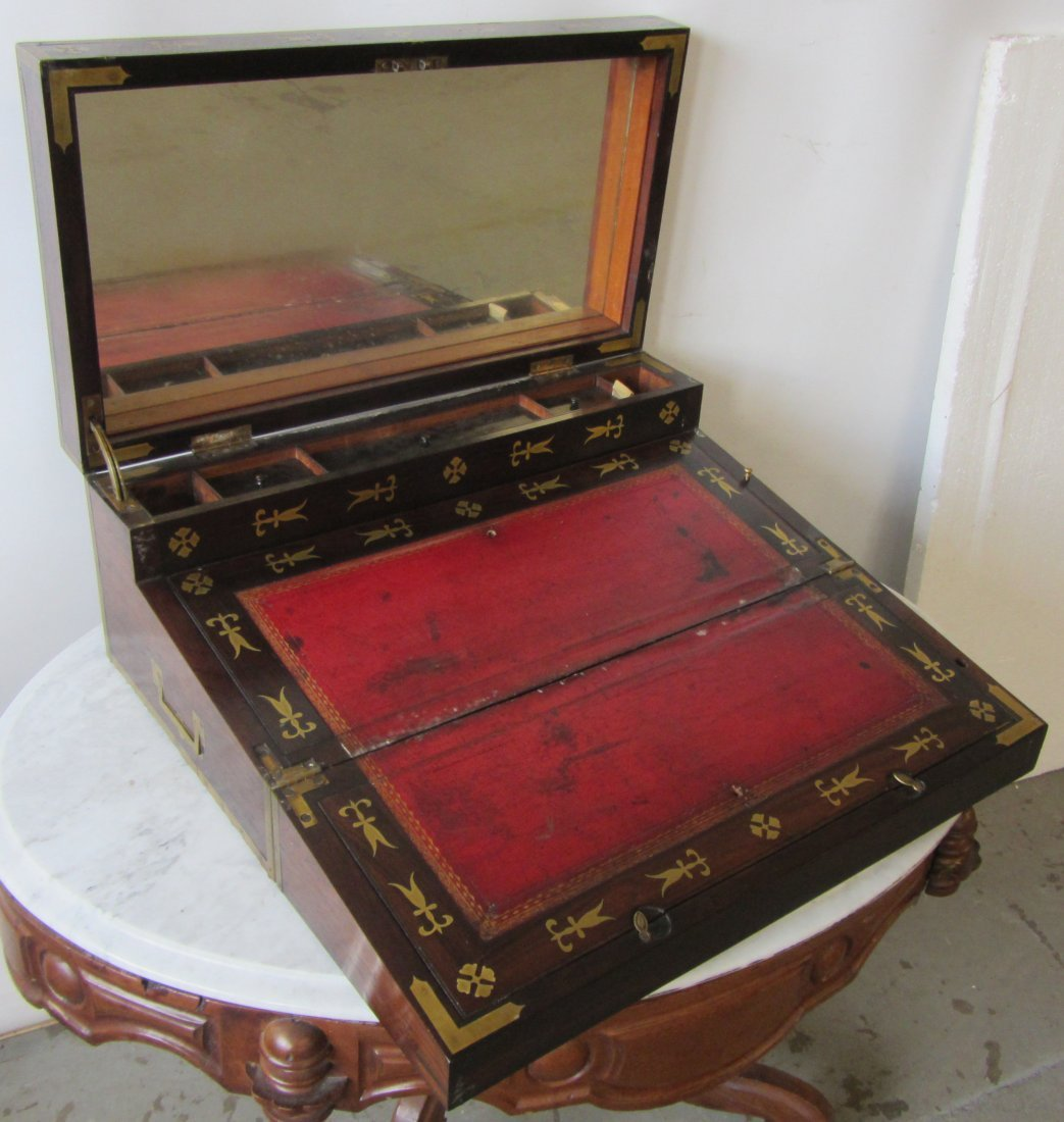 19th C. Rosewood and brass inlay travel desk