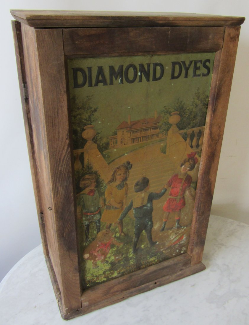 19th C. Diamond Dye cabinet with dyes