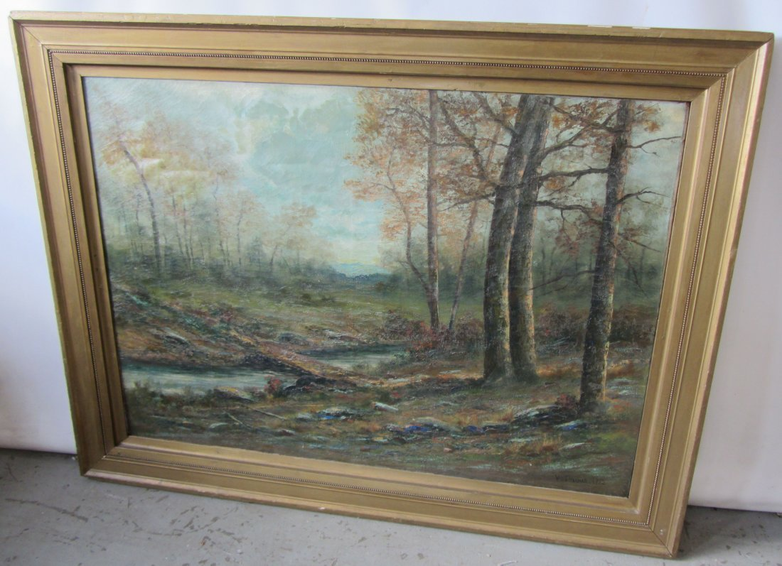 19th C. Signed painting on canvas of landscape