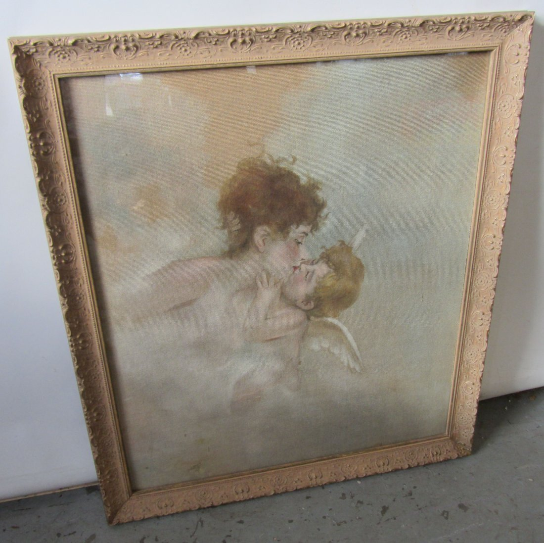 19th C. Painting of woman on tapestry