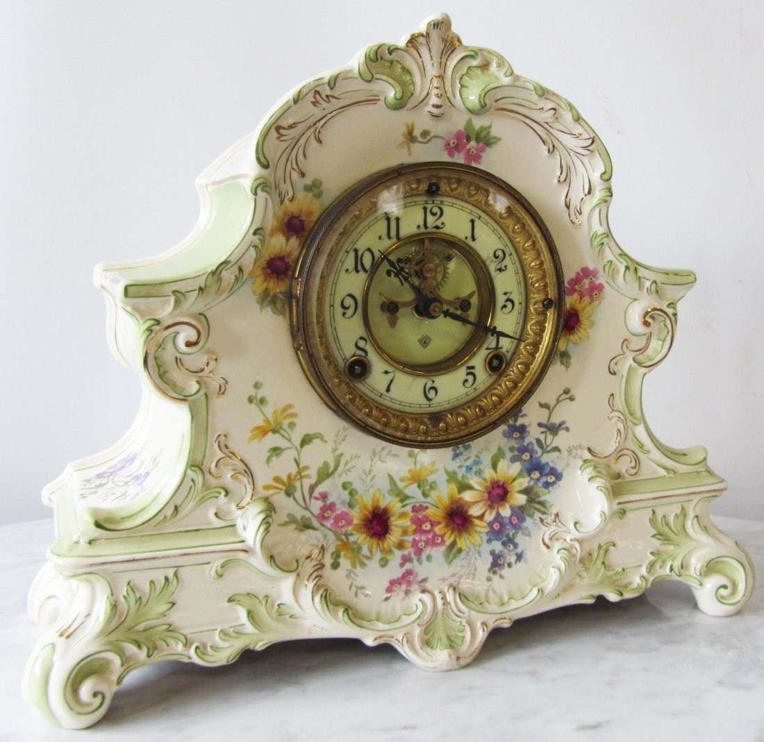 19th C. Ansonia mantle clock with Royal Bonn case