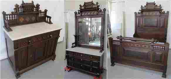 C1870 American Eastlake marbletop bedroom set