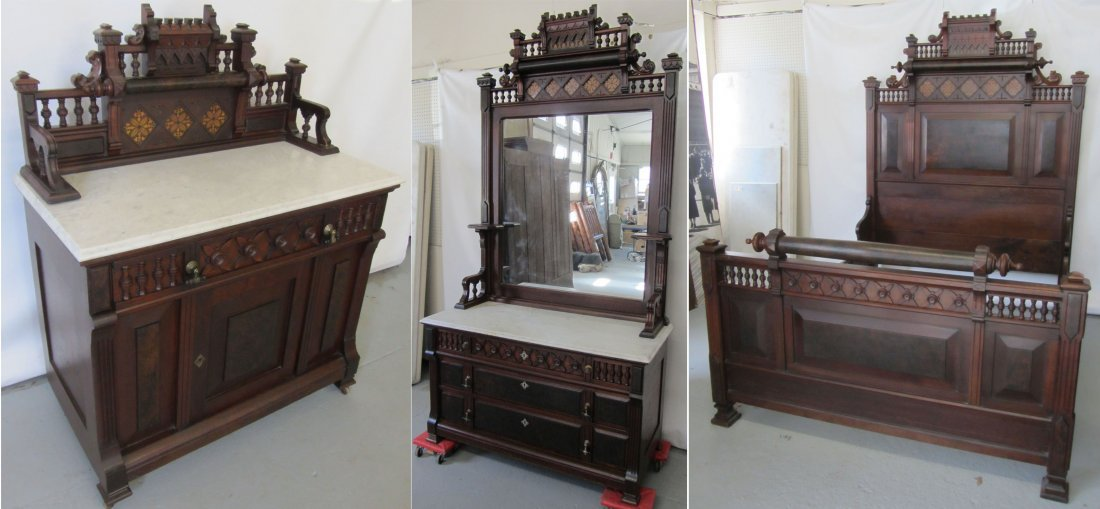 C1870 American Eastlake marbletop bedroom set