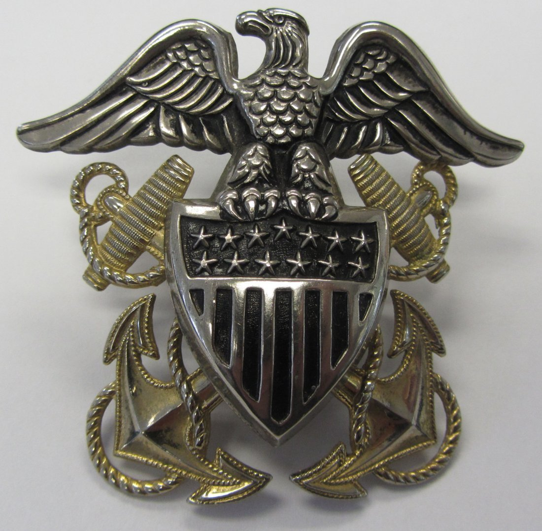 US Navy Officers crest with sterling eagle