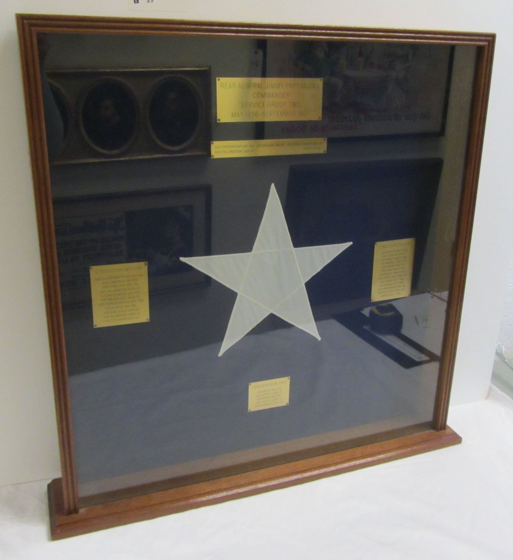 Admiral James Pappas Navy flag with information