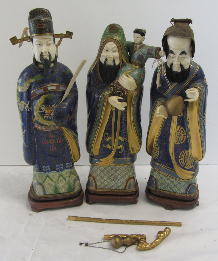 3 19th C. Chinese cloisonne figures