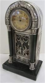 Rare 19th C. Russian silver and malachite clock