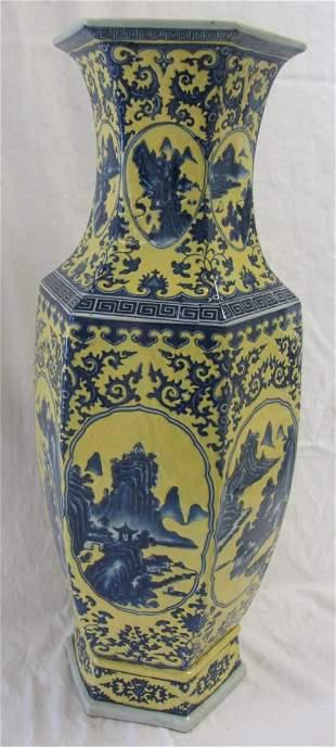 20th C. Yellow and blue glazed porcelain vase
