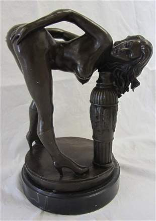 0th C. Nude bronze of woman on marble base
